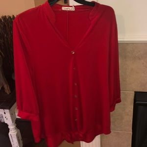 Comfy red blouse with front tie